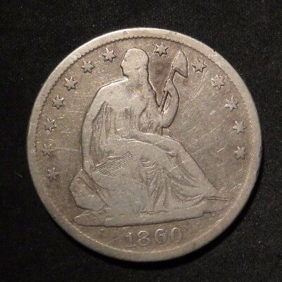 1860-S Seated Liberty Half Dollar 50¢- VG Cleaned