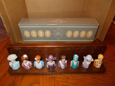 Avon American Fashion 8 Thimbles Collection with Mahogany Display Rack (1983)