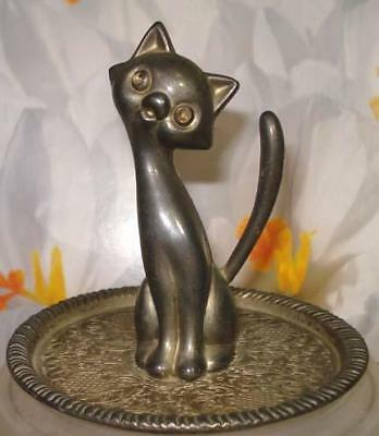 VINTAGE Kitsch Long Neck WHIMSICAL CAT Ring Holder Silver Plated Trinket Tray