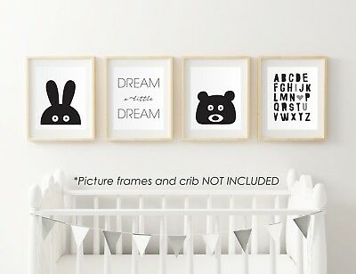 4PCS Black White Baby Children bed Room Decor paint frame picture animals fun