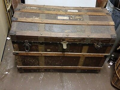 Antique Steamer Chest / Trunk Circa 1880's ~Insert ~~ Domed Top~Travel Tags~