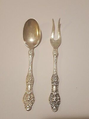 Antique TH Marthinsen Norway EPNS 40 Wild Rose Fork And Spoon Set