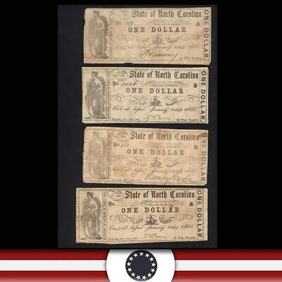 Set of Four (4) 1866 STATE of NORTH CAROLINA Obsolete Bank Notes  NC2