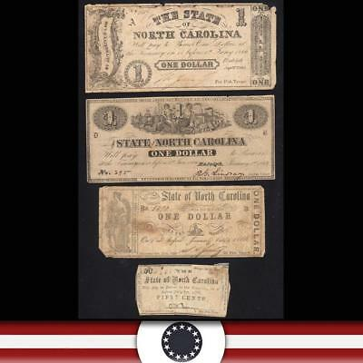 Four (4)  1866 STATE of NORTH CAROLINA Obsolete Bank Notes  NC1
