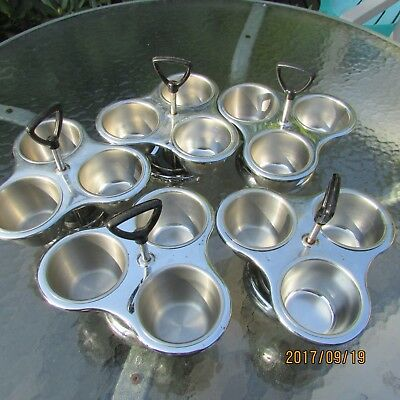 5 (FIVE) STAINLESS STEEL CONDIMENT SERVER 3 INDIVIDUAL BOWLS  STANDs