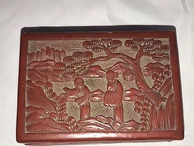 Antique Chinese Carved Figural Scene Cinnabar Lacquer Box