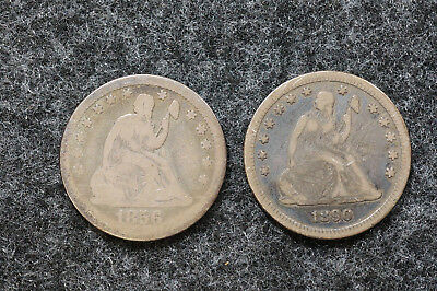 Lot of 2 1890 1856 Seated Liberty Silver Quarter 25c
