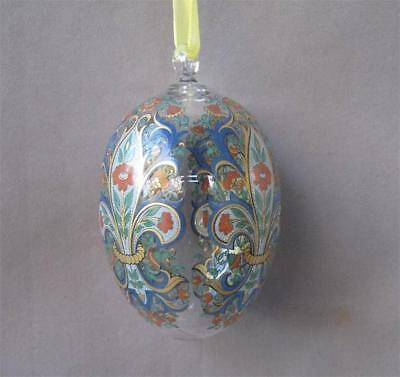 Hutschenreuther Germany Red Blue Gold Crystal Egg Ornament Glass Ei