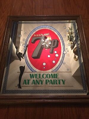 """Vintage 7-UP Soda Pop Mirror Sign Retro Rare """"Welcome At Any Party"""" Americana"""