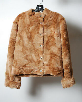 Nordstrom Brown Faux Fur Button Down Long Sleeve Jacket Size S/M