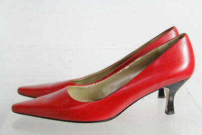 Bandolino Red Leather Square Toe Kitten Heel Slip On Pumps Shoes Size 8.5M