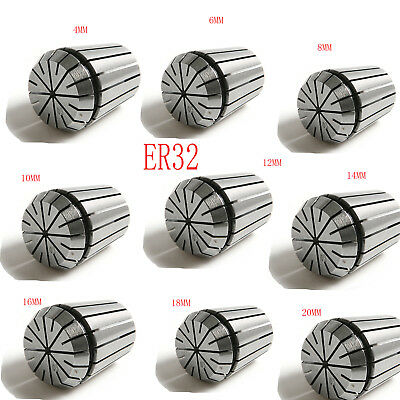 9X ER32 Spring Collet Clamp Chuck 4-20mm For CNC Engraving Milling Machine Tool