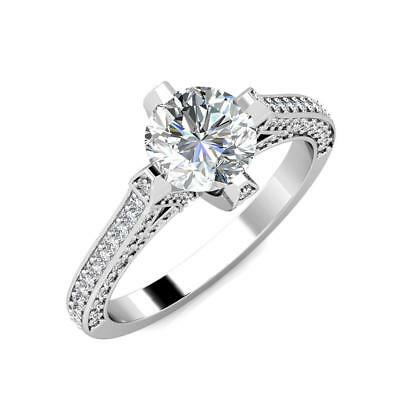 2.20 Ct 14K White Gold Round Forever One Moissanite and Diamond Engagement Ring