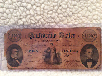 Confederate Note Type 25 - $10 from 1861-Good Condition!