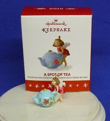 Hallmark Miniature Ornament A Spot of Tea 2016 Teapot Fairy Pot NIB