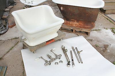 antique sitz bath tub |  vtg deco victorian bathroom earthenware bathtub