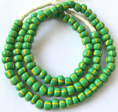 Vintage Green and Yellow Stripes glass African trade beads