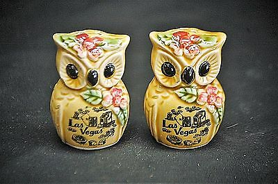 Old Vintage Las Vegas Owl Salt Pepper Shaker Set Kitchen Tool Souvenir Japan MCM