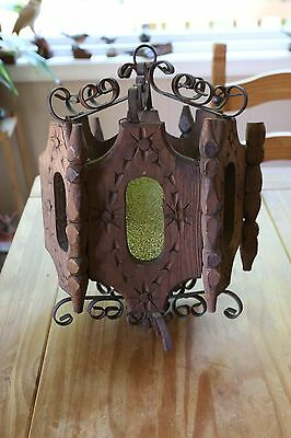 Gothic Art & Crafts Hanging Candle Chandelier Light Wooden Wrought Iron