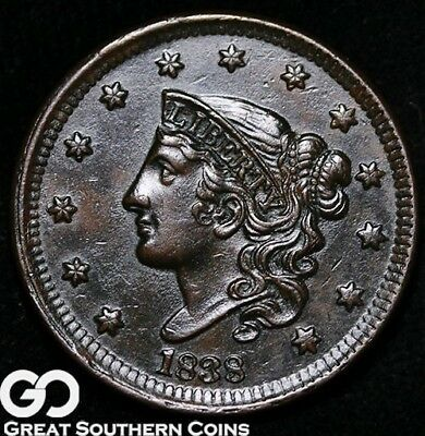 1838 Large Cent, Coronet Head, Nice Choice Uncirculated Early Copper!
