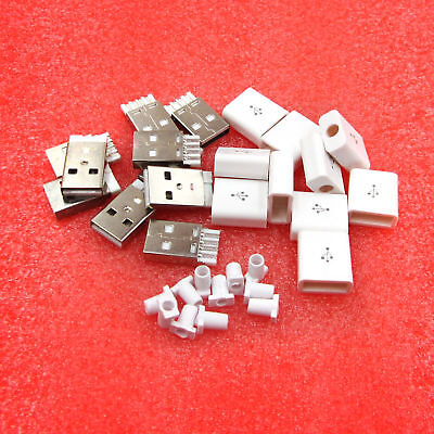 New Male USB Connector Kit 5P USB 2.0 Plug Type-A DIY Components White 10PCS