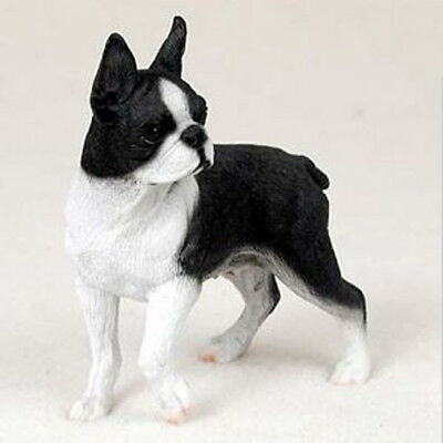 BOSTON TERRIER  DOG Figurine Statue Hand Painted Resin Gift Pet Lovers Tan