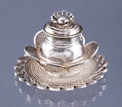 Antique Cannetille Spun Wire Container Trinket Box Vintage .800 Silver Filigree