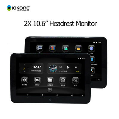 """2 Headrest Monitors 10.6"""" HD Android Car Headrest Monitor Player with HDMI/Wifi"""