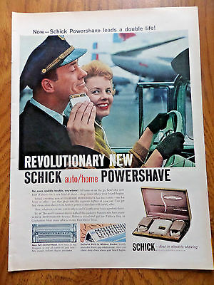 1958 Schick Powershave Shaver Ad at the Airport Pilot