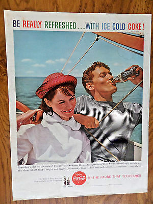 1959 Coke Coca-Cola Soda Ad  Sailing Theme