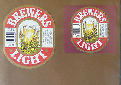 Vintage South Australian Beer Label - Brewers Light Pair