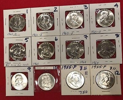 1955 - 1963 Franklin 90% Silver Half Dollars (12 Coin Lot) Ships Free