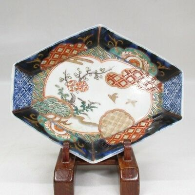 H558: Japanese OLD IMARI colored porcelain plate with good shape and painting