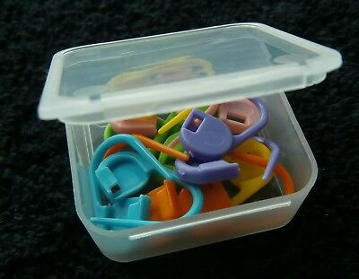 KNITTING / CROCHET / PLASTIC LOCKING STITCH MARKER - with storage container