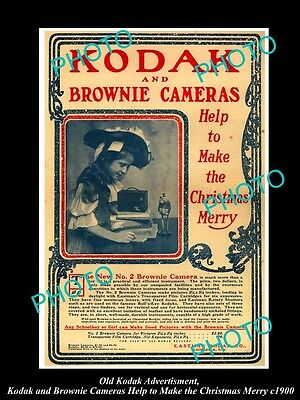 Old Large Historic Kodak Camera Advertisment, Brownie For A Merry Christmas 1900