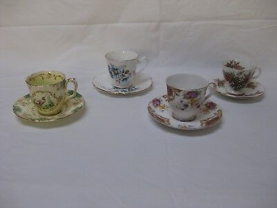English Antique Vintage brands bone china tea cup and saucer bulk lot 4 sets