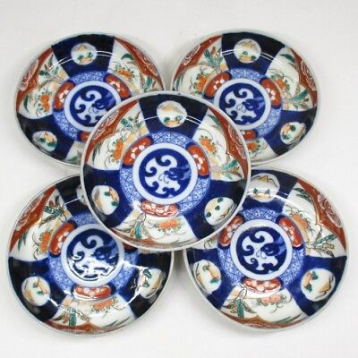 H562: Real Japanese OLD IMARI colored porcelain five small plates in Meiji era