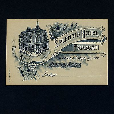 Splendid Hotel Frascati BUENOS AIRES Argentina Old Luggage Label Kofferaufkleber