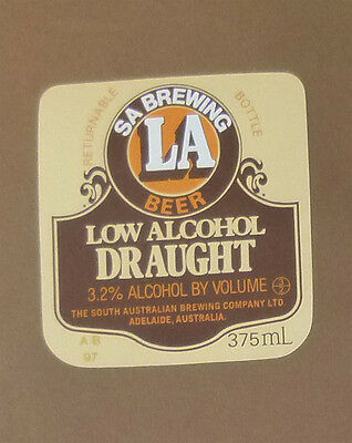 Vintage South Australian Beer Label - S.a Brewing La Draught