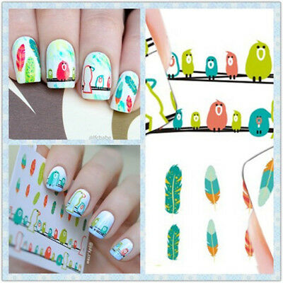 2Sheets Bird Feather Pattern Nail Art Water Decals Transfer Stickers BORN PRETTY