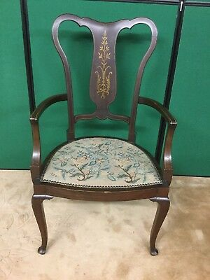 Antique EdwardianInlaid Armchair / Carver Chair Delicate Pretty Inlaid Detailing