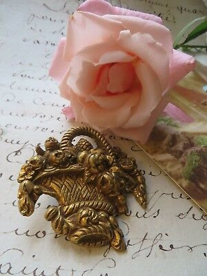 Antique French Ormolu Brass Cache Clous ~ Flower Basket~ Picture Hook Covers