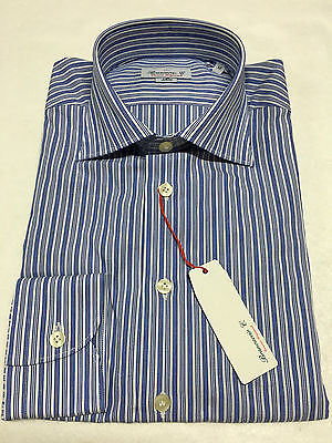 BRANCACCIO men's shirts white/blue 100% cotton slim fit