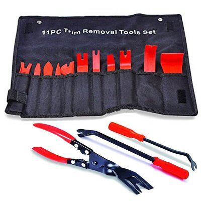 3Pc Clip Plier Fastener Remover Repair+11Pc Nylon Door Molding Dash Panel Tools