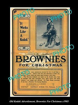 OLD LARGE HISTORIC KODAK CAMERA ADVERTISMENT, BROWNIE FOR CHRISTMAS c1905
