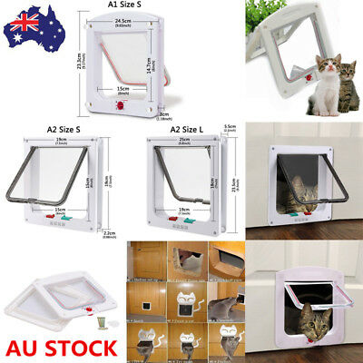 Small Large 4 Way Lockable Locking Pet Cat Dog Safe Security Brushy Flap Door