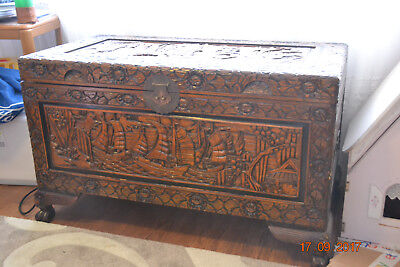 Carved Campher wooden chest - Milperra