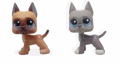 2pcs 244 #184 LPS Littlest Pet Shop Brown Gray Great Dane Dog Puppy