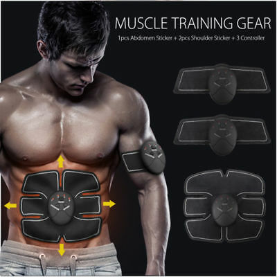 UK Abdominal Muscle Trainer Massager ABS Exercise Body Shape Fitness Home Use+AA