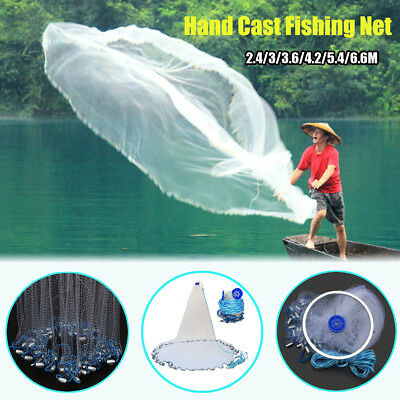 Large Hand Cast Fishing Net Spin Network Bait Fish Net + Sinker Durable Portable